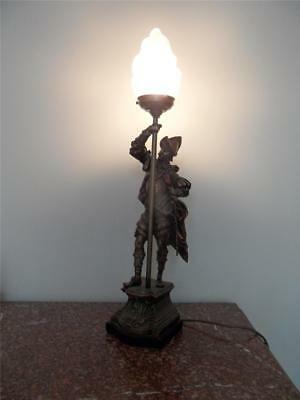 1930s + VINTAGE CAST METAL CONQUISTADOR MALE FIGURINE LAMP w FLAME GLASS LIGHT