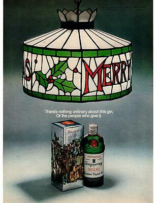 1970 Tanqueray Gin From England Merry Christmas Tiffany Lamp shade Print Ad