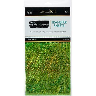 """Thermoweb iCraft Deco Foil Transfer Sheet Green Sketch  6x12"""", 10pk by Brutus Mo"""