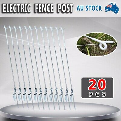 Spring Steel Tread-In Post (20Pk) Strip Graze Poly Tape Electric Fence Post Aus