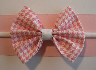 Nylon Newborn/Baby/Toddler/Girl Headband With 3'' Pink & White Houndstooth Bow