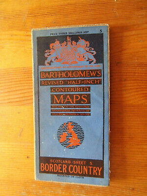 Bartholomews Border Country Vintage Cloth Map Sheet 5 Half-Inch 1931 Very Good