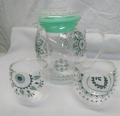 Glass Mini Tea Set Teapot Pitcher Strainer  2 Double Wall Cups mint green