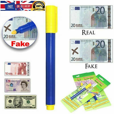 Money Tester Pens Counterfeit Forged Fake Detector Marker Bank Note Checker UK