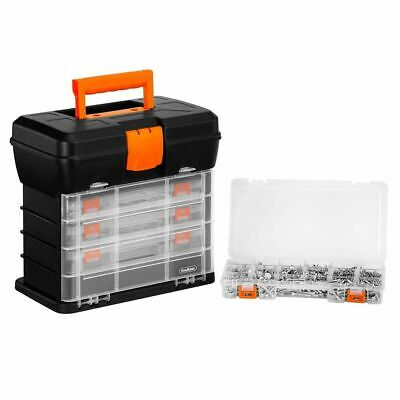 Tool Box Carry Case 4 Drawers Utility DIY Tackle Storage & Organiser Dividers