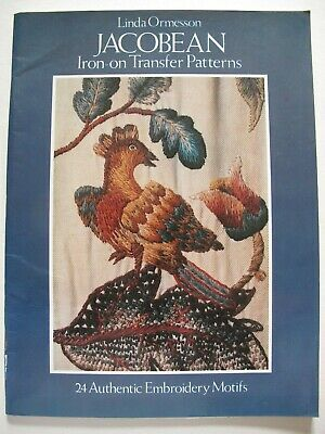 JACOBEAN Iron-on Transfer Patterns - 24 AUTHENTIC EMBROIDERY MOTIFS