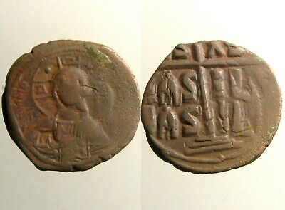 LARGE ROMANUS III / ANONYMOUS BRONZE AE FOLLIS__Bust of Christ__BYZANTINE EMPIRE