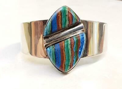 Jay King Sterling Silver Rainbow Calsilica Cuff Bracelet ~ 41.1grams ~ 11-G2450