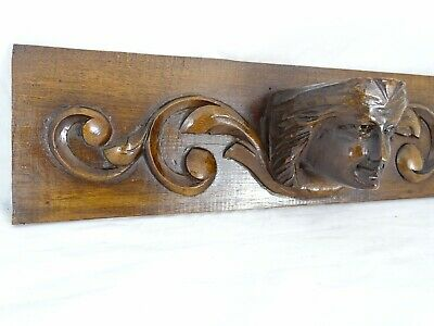 "16.5"" French Antique Gothic Walnut Carved Pediment Medieval Head"