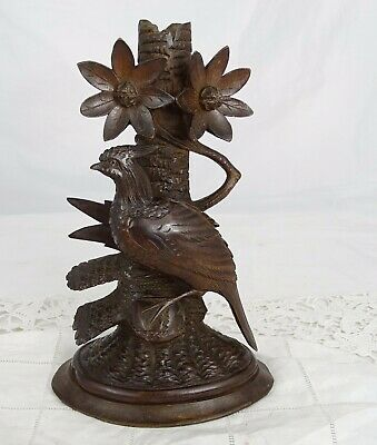 Antique Black Forest Walnut Wood Carved Candle Game Bird 19th Edelweiss