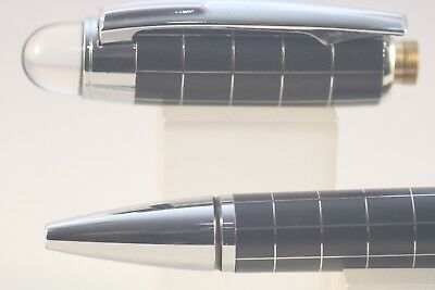 Baoer No. 79 Ballpoint Pen, Black Chequered with Chrome Trim