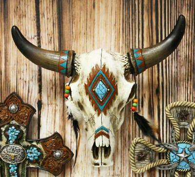 "12.5""L Southwest Steer Bison Bull Cow Horned Skull Head With Feathers Wall Decor"