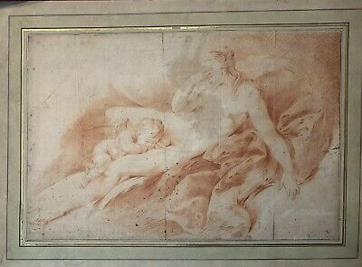 18th CENTURY FRENCH OLD MASTER SANGUINE DRAWING - VENUS & CUPID - BOUCHER