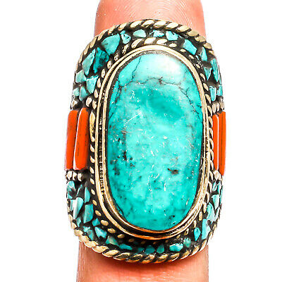 Tibetan Turquoise Red Coral  Ring 925 Silver Plated  Jewelry Sz10