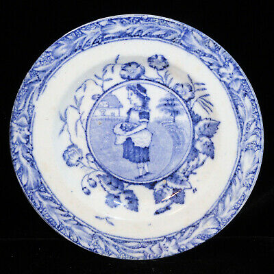 Allerton Childs Plate Flow Blue Little May Apron c1880 Staffordshire