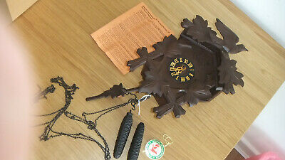 H. Herr Original Black Forest Cuckoo Clock Wood Hand-Carved For Spare Or Repair