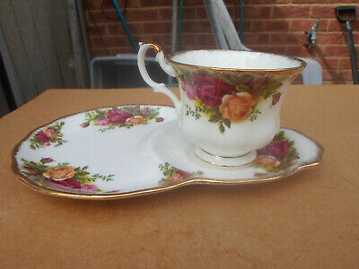 royal Albert Old Country Roses Tennis Racket Plate with Cup
