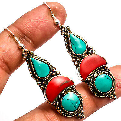 """Tibetan Turquoise Red Coral Earring 925 Silver Plated Jewelry Sz2.61"""""""