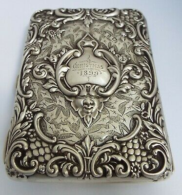 Superb Decorative English Antique 1899 Sterling Silver Card Case & Aide Memoire