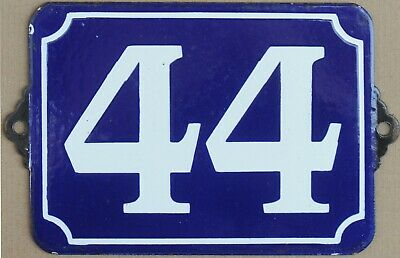 Large old blue French house number 44 door gate plate plaque enamel sign c1970