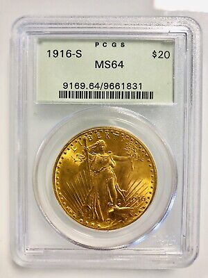 1916-S $20 Gold Saint Gaudens Double Eagle Pcgs Ms64 Green Holder - Free Ship