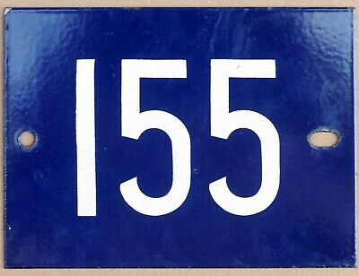 Big old French house number 155 door gate plate plaque enamel steel metal sign