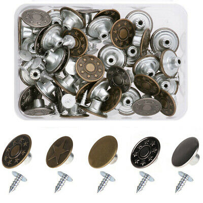 Shappy 50 Sets Metal Jeans Buttons Denim Replacement Buttons Tack Snap Buttons with Rivets and Storage Box for Jackets Jeans Bronze and Silver