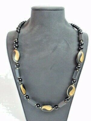 """Vintage Black Gold Bead Necklace 29.5"""" Long Painted Waves Japan Asian 1950s"""