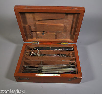 RARE BRITISH MEDICAL ANTIQUE -Mahogany Cased Surgeon Instrument by C BAKER 1870