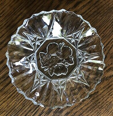 Vintage Clear Cut Glass Curved Serving Tray Platter Plate Fruit Design