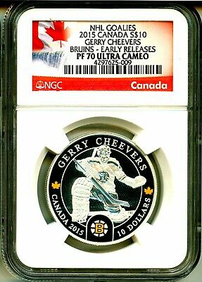 2015 Canada S$10 NHL Goalies Gerry Cheevers Bruins Early Release NGC PF70 UC
