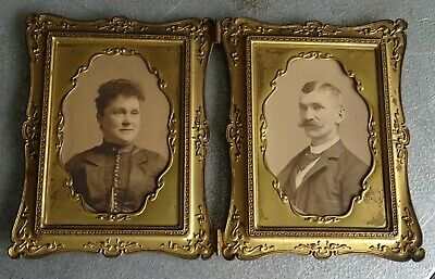 Gold/Brass Color Metal/Tin hinged double Picture Frame - Brockton Ma. Estate
