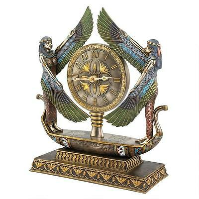 """Wings Of Isis Egyptian Sculptural Hieroglyphic Numbers Design Toscano 16"""" Clock"""