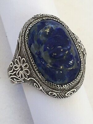 Asian Chinese Export Sterling Silver Carved Lapis Flower Ring Chinese Hallmark