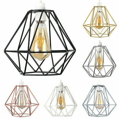Industrial Geometric Easy Fit Wire Ceiling Pendant Light Shades Modern Lighting