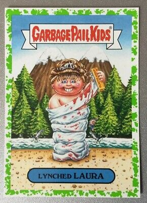 Garbage Pail Kids We Hate The 90s TV Green Puke Sticker Lynched Laura 1b