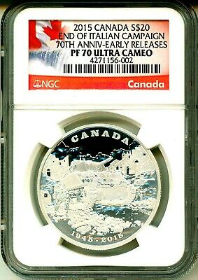 2015 Canada $20 End Of Italian Campaign 70th Anniversary ER NGC PF70 Ultra Cameo