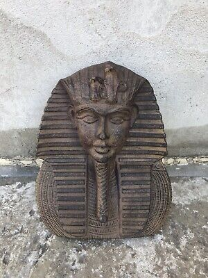 "Beautiful 9"" Antique Style King Tut Egyptian Head Bust Cast Iron Home Decor"