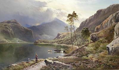Dream-art Oil painting Sidney Richard Percy - Cowherd & cows cattles by river