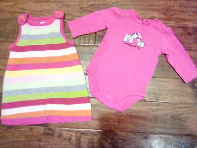 EUC! Baby Infant Girls Gap Pink Striped Sweater Dress 0-3 months