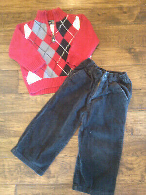 EUC! Baby Boys Childrens Place Red Argyle Sweater Corduroy Pants 18-24 months