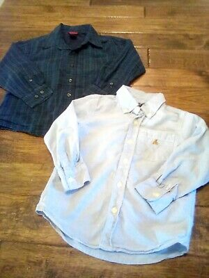 GUC! Lot 2 Boys Gap Navy Blue Plaid & Striped Long Sleeved Shirts Size 4 5
