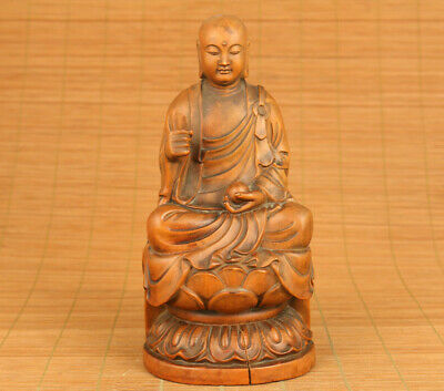 Blessing old boxwood hand carved buddha netsuke collectable statue table deco