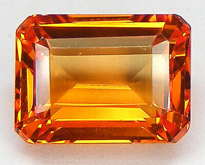 8,36CT. TRES BEAU LUSTRE T. EMERAUDE 12,8x9,5 MM. SAPHIR ORANGE DE SYNTHESE