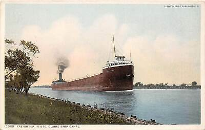 Great Lakes Steamer Freighter Ste Claire Ship Canal Michigan Phostint postcard