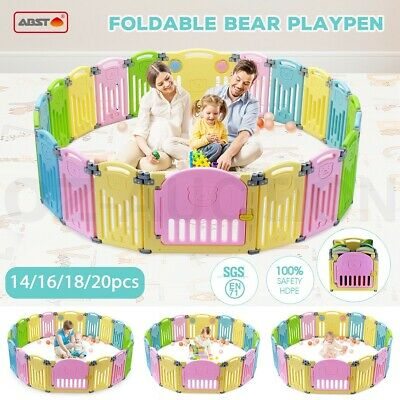 Multi ABST Kids Baby Playpen Interactive Baby Room Foldable Safety Gates Bear