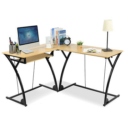 L-Shaped Home Office Corner Desk Computer PC Laptop Table Gaming Workstation