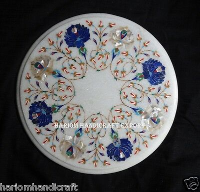 """13"""" Marble Marquetry Floral Inlay Round Dining Table Top Handicraft Gifts H184"""