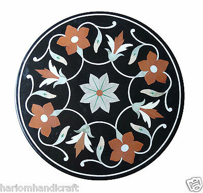 Size 2'x2' Marble Round Side Coffee Table Top Inlay Marquetry Floral Decor H1295