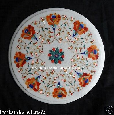 """12"""" Marble Round Coffee Table Top Marquetry Floral Inlaid Decor Furniture H185"""